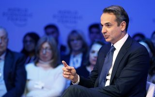 Greece's Prime Minister Kyriakos Mitsotakis addresses the World Economic Forum in Davos, Switzerland, Thursday, Jan. 23, 2020. The 50th annual meeting of the forum is taking place in Davos from Jan. 21 until Jan. 24, 2020. (AP Photo/Markus Schreiber)