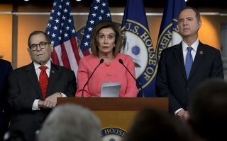 Speaker of the House Nancy Pelosi, D-Calif., accompanied by House Judiciary Committee Chairman Rep. Jerrold Nadler, D-N.Y. left, and House Intelligence Committee Chairman Adam Schiff, D-Calif., speaks during a news conference to announce impeachment managers on Capitol Hill in Washington, Wednesday, Jan. 15, 2020. (AP Photo/Jose Luis Magana)