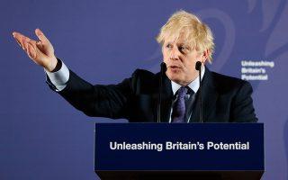 Ο Μπόρις Τζόνσον κατά τη χθεσινή ομιλία του στο Παλαιό Βασιλικό Ναυτικό Κολέγιο του Λονδίνου.