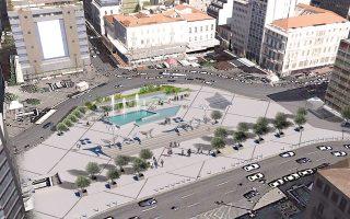 Η πλατεία Ομονοίας, σύμφωνα με το σχέδιο που είχε εκπονήσει ομάδα καθηγητών του Πολυτεχνείου, αρχιτεκτόνων και πολεοδόμων.