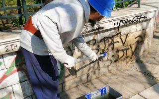 Οι εργασίες καθαρισμού του τοίχου, με μη τοξικά υλικά, διήρκεσαν έξι ημέρες.