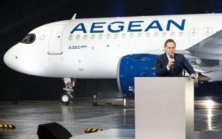 «Η Aegean επενδύει πολλά και σε κεφάλαια –500 εκατ. δολάρια τον χρόνο για τα επόμενα 6 χρόνια– και σε στόλο, αλλά και σε προσπάθεια για ποιότητα και μεγαλύτερη διαφοροποίηση. Ηδη το 2020 κάνουμε ένα μεγάλο βήμα με τα καινούργια αεροσκάφη. Προσθέτουμε 1,5 εκατ. θέσεις, 1,15 εκατ. εξωτερικού», εξηγεί ο κ. Ευτύχης Βασιλάκης. ΔΗΜΗΤΡΗΣ ΠΑΠΑΜΗΤΣΟΣ/ΓΡΑΦΕΙΟ ΤΥΠΟΥ ΠΡΩΘΥΠΟΥΡΓΟΥ