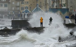 Waves crash against the breakwater during Storm Ciara at Wimereux, France, February 9, 2020.  REUTERS/Pascal Rossignol