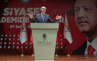 Turkish President Tayyip Erdogan speaks during a meeting of his ruling AK Party in Ankara, Turkey, February 27, 2020. Turkish Presidential Press Office/Handout via REUTERS ATTENTION EDITORS - THIS PICTURE WAS PROVIDED BY A THIRD PARTY. NO RESALES. NO ARCHIVE