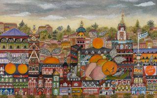 «Ευτυχισμένη πόλη με πορτοκάλια», ένα από τα νέα εικαστικά έργα του Γιάννη Ξανθούλη που θα εκτεθούν στην Galerie Genesis.
