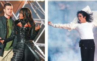 Τζάνετ Τζάκσον και Τζάστιν Τίμπερλεϊκ (αριστερά) χάρισαν το σκανδαλώδες στιγμιότυπο του 2004. Ο Μάικλ Τζάκσον (κέντρο) ερμήνευσε τις επιτυχίες του το 1993.