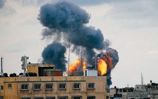 Ισχυρή έκρηξη συγκλονίζει συνοικία της πόλης της Γάζας, μετά τους πρωινούς ισραηλινούς βομβαρδισμούς της Δευτέρας.
