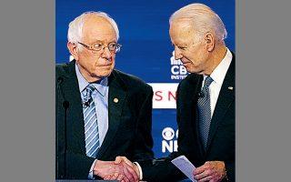 Μπέρνι Σάντερς (αριστερά) και Τζο Μπάιντεν, στο τελευταίο ντιμπέιτ πριν από τις προκριματικές εκλογές της Νότιας Καρολίνας.