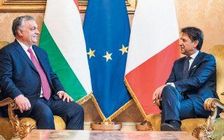 Ο Ούγγρος πρωθυπουργός Βίκτορ Ορμπαν κατά τη διάρκεια της συνάντησής του τη Δευτέρα στη Ρώμη με τον Ιταλό πρωθυπουργό Τζουζέπε Κόντε.