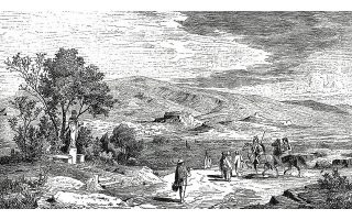 Αποψη των Αθηνών από την Ιερά Οδό. Στο κέντρο διακρίνεται η Ακρόπολη και στο βάθος ο Υμηττός.