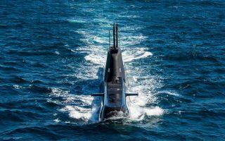 Το υποβρύχιο «Ματρώζος» σε άσκηση στη θαλάσσια περιοχή του Μυρτώου Πελάγους. ΑΠΕ-ΜΠΕ