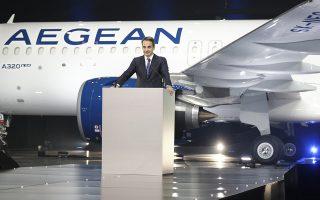 (Ξένη Δημοσίευση)  Ο πρωθυπουργός Κυριάκος Μητσοτάκης απευθύνει χαιρετισμό στην τελετή παραλαβής των πρώτων τριών νέων αεροσκαφών από συνολικά 46 Airbus της Aegean, την Τετάρτη 12 Φεβρουαρίου 2020, στην Τεχνική βάση της Aegean (Διεθνής Αερολιμένας Αθηνών).  ΑΠΕ-ΜΠΕ/ΓΡΑΦΕΙΟ ΤΥΠΟΥ ΠΡΩΘΥΠΟΥΡΓΟΥ/ΔΗΜΗΤΡΗΣ  ΠΑΠΑΜΗΤΣΟΣ