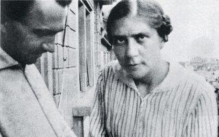 H Ελλη Λαμπρίδη με τον Νίκο Καζαντζάκη στην Ελβετία το 1918.