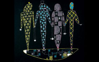 O Ιάσονας Βενετσανόπουλος στήνει «ταπισερί» με φλούο ακρυλικά χρώματα και έντονο μυθολογικό στοιχείο.