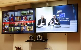 FILE PHOTO: European Council President Charles Michel is seen on screen during a conference call with European leaders on Coronavirus, COVID-19, at the European Council, Brussels, Belgium March 10, 2020. Stephanie Leqocq/Pool via REUTERS/File Photo
