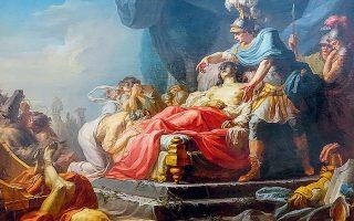 Ο Αχιλλέας επιδεικνύει το πτώμα του Εκτορα στα πόδια του Πατρόκλου. Πίνακας που ο Γάλλος ζωγράφος και πορτρετίστας Ζαν Ζοζέφ Τεγιασόν φιλοτέχνησε το 1769. Krannert Art Museum, Ιλινόι, ΗΠΑ.