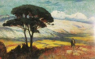 «Πεύκο». Εργο του Λυκούργου Κογεβίνα (1887-1940), από τον τόμο «Παρίσι-Αθήνα, 1863-1940», έκδοση της Εθνικής Πινακοθήκης - Μουσείου Αλέξανδρου Σούτζου, από την ομότιτλη έκθεση που είχε παρουσιαστεί από τις 20 Δεκεμβρίου 2006 έως τις 31 Μαρτίου 2007.