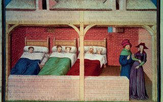 Ο Πίνακας του 14ου αιώνα που αποτυπώνει μια σκηνή από τους αυτοεξόριστους του «Δεκαήμερου». (Φωτογραφίες: © Getty Images/Ideal Image, alamy/visualhellas.gr)
