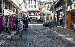 «Ερημη» σχεδόν χθες η αγορά Καπάνι Θεσσαλονίκης, στο πλαίσιο περιορισμού μετακινήσεων των πολιτών.