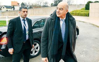 Ο υπουργός Εξωτερικών Ν. Δένδιας προσερχόμενος στο έκτακτο Συμβούλιο Εξωτερικών Υποθέσεων των κρατών-μελών της Ευρωπαϊκής Ενωσης, στο Ζάγκρεμπ της Κροατίας.
