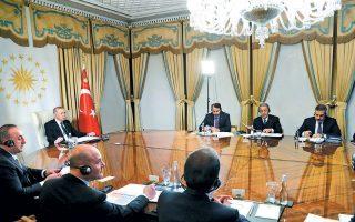Ο Τ. Ερντογάν κατά τη χθεσινή τηλεδιάσκεψη με τους Εμ. Μακρόν, Αγκελα Μέρκελ και Μπ. Τζόνσον για το προσφυγικό.