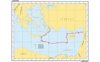 Ο παραπάνω χάρτης έχει επισυναφθεί ως παράρτημα στην επιστολή του κ. Σινιρλίογλου και δείχνει τα εξωτερικά όρια της τουρκικής υφαλοκρηπίδας με βάση το μνημόνιο Αγκυρας - Τρίπολης. Στον χάρτη, η τουρκική υφαλοκρηπίδα είναι σχεδιασμένη με παντελή αδιαφορία προς τη δεδομένη επήρεια των Δωδεκανήσων και της Κρήτης, αλλά και της Κύπρου.