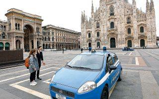 Ελεγχοι της ιταλικής αστυνομίας σε πολίτες, με φόντο την άδεια πλατεία του Ντουόμο.