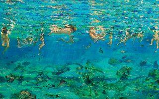 «Κολυμβητές κάτω από το νερό» (λεπτομέρεια), 2004, λάδι σε μουσαμά, 80x195 εκ. Εργο της Μαρίας Φιλοπούλου από την έκθεση «Προσωπικοί Παράδεισοι», που διοργανώνει η Γκαλερί Ζουμπουλάκη στον χώρο «16 Φωκίωνος Νέγρη» της συλλογής Σωτήρη Φέλιου. Η έκθεση θα διαρκέσει έως τις 16 Μαΐου 2020.