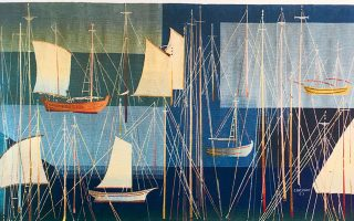 «Κατάρτια» (1963), του Σπύρου Βασιλείου. Από την έκθεση «Υφάνσεις. Ζωγραφική και ταπισερί στην Ελλάδα από το 1960 έως σήμερα», που πραγματοποιήθηκε (21 Νοεμβρίου 2019 - 16 Φεβρουαρίου 2020) στο Μουσείο Μπενάκη.