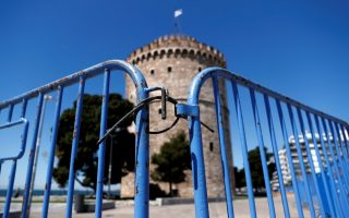 Barriers are seen around the White Tower preventing access to the seaside promenade as the coronavirus disease (COVID-19) outbreak continues, in Thessaloniki, Greece, April 8, 2020. REUTERS/Murad Sezer