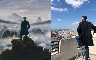 Αναπαράσταση του έργου «Wanderer above the sea of fog» του Κάσπαρ Νταβίντ Φρίντριχ.