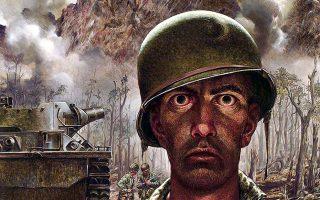Η απεικόνιση του «βλέμματος των χιλίων γιαρδών», δηλαδή του σε κατάσταση σοκ στρατιώτη στον πόλεμο. Η κλασική εικονογράφηση του πολεμικού καλλιτέχνη Τόμας Λία, από τη μάχη της νήσου Πελελίου το 1944.