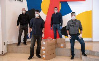 Από αριστερά: οι Νίκος Τσονιώτης, Χάρης Γερεμτζές, Δημήτρης Κουρτέσης και Δημήτρης Μουστάκας στον χώρο του OK!Thess. (Φωτογραφίες: Αλέξανδρος Αβραμίδης)