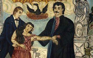 Θεόφιλος Χατζημιχαήλ, «Ο Ρήγας Βελεστινλής και ο Αδαμάντιος Κοραής υποβαστάζουν την Ελλάδα». Μακεδονικό Μουσείο Σύγχρονης Τέχνης, Θεσσαλονίκη.