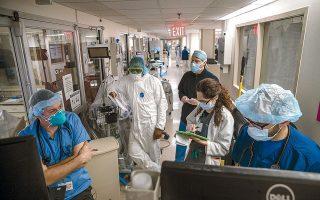 Στο Brooklyn Hospital Center, το βάρος έχει πέσει στη διαχείριση ασθενών με COVID-19. (Φωτογρφία: Victor J. Blue/ NYTimes)