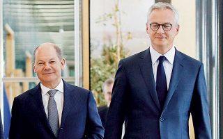 Σύμφωνα με τα έγγραφα που έχει στη διάθεσή της η «Κ», Γερμανία και Γαλλία συμφωνούν στη χρήση της προληπτικής πιστωτικής γραμμής του Ευρωπαϊκού Μηχανισμού Σταθερότητας (ESM) χωρίς ιδιαίτερα απαιτητικούς όρους – κάτι το οποίο είπαν χθες και οι υπουργοί Οικονομικών Γερμανίας και Γαλλίας, Ολαφ Σολτς και Μπρινό Λε Μερ, αντιστοίχως.
