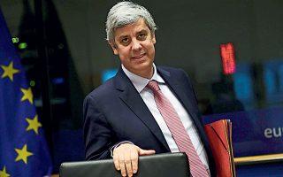 Oι υπουργοί Οικονομικών της Ευρωζώνης κατάφεραν τελικά να συμφωνήσουν σε ένα πακέτο στήριξης για την καταπολέμηση των οικονομικών επιπτώσεων από την παγκόσμια πανδημία, συνολικού ύψους 540 δισ. ευρώ. Στη φωτογραφία, ο πρόεδρος του Eurogroup Μ. Σεντένο.