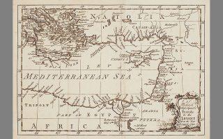 Χάρτης της περιοχής την οποία θέλησε να εξερευνήσει ο Φρέντρικ Χάσελκβιστ. Ξεκίνησε από τη χώρα του το 1749, αλλά δεν ολοκλήρωσε ποτέ την προσπάθεια, καθώς άφησε την τελευταία του πνοή στη Σμύρνη το 1752.