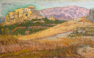 Κωνσταντίνος Μαλέας, «Η Ακρόπολη από την Πνύκα», 1914-1917. Aπό την έκθεση «Πολύτιμα έργα ζωγραφικής από το Μουσείο Νεοελληνικής Τέχνης Δήμου Ρόδου», που εγκαινιάστηκε τον Φεβρουάριο του 2019 στο Ιδρυμα Θεοχαράκη.