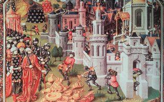 Η απελευθέρωση ή λεηλασία της Ιερουσαλήμ από τους σταυροφόρους της Πρώτης Σταυροφορίας το 1099. Εικονογράφηση από το βιβλίο.