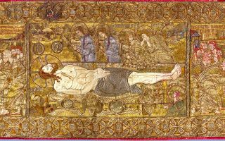 Πηγή Φωτογραφίας: Μουσείο Βυζαντινού Πολιτισμού Θεσσαλονίκης: Χρυσοκέντητος μεταξωτός επιτάφιος, 13ος αι.