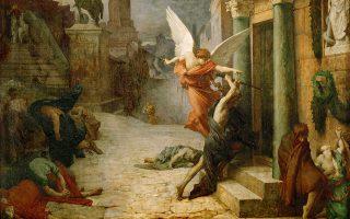 Η πανώλη χτυπάει τη Ρώμη από το 165 έως το 180 μ.Χ., γνωστή και ως «πανώλη του Γαληνού», από τον Κλαύδιο Γαληνό που την έζησε και την κατέγραψε. Εργο του 1869, από τον Γάλλο ζωγράφο Ζιλ-Ελί Ντελονέ, εμπνευσμένο από το χρονικό «Legenda Aurea» του χρονικογράφου και αρχιεπισκόπου της Γένοβας Τζάκοπο ντε Φάτσιο (1230-1298).