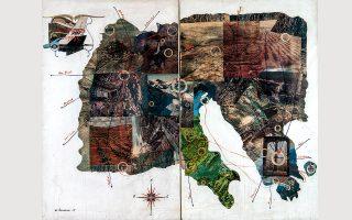 © Chryssa Romanos | «Mon premier voyage», 1965, κολάζ σε μουσαμά, collage on canvas, 130 x 162 εκ.