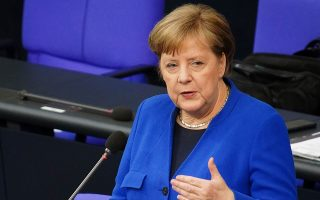 Η Αγκελα Μέρκελ, στη χθεσινή συνεδρίαση της Μπούντεσταγκ στο Βερολίνο.