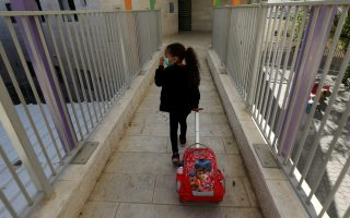 A girl arrives at her elementary school as it reopens following the ease of restrictions preventing the spread of the coronavirus disease (COVID-19), in the settlement of Maale Adumim in the Israeli-occupied West Bank May 3, 2020. REUTERS/Ammar Awad