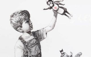 A picture shows a drawing created by the street artist Banksy called