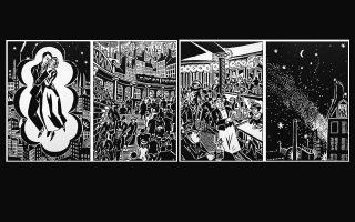 © Τέσσερις ξυλογραφίες του Frans Masereel από το βιβλίο «Η πόλη – μυθιστόρημα σε 100 ξυλογραφίες» των εκδόσεων Άγρα.
