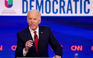 FILE PHOTO: Democratic U.S. presidential candidate and former Vice President Joe Biden speaks during the 11th Democratic candidates debate of the 2020 U.S. presidential campaign, held in CNN's Washington studios without an audience because of the global coronavirus pandemic, in Washington, U.S., March 15, 2020. REUTERS/Kevin Lamarque/File Photo