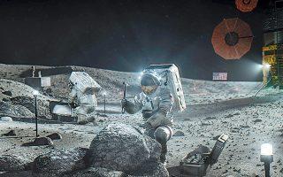 Εικονογράφηση που δόθηκε στη δημοσιότητα από τη NASA τον περασμένο μήνα δείχνει αστροναύτες του «Artemis» στη Σελήνη.
