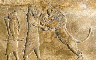 Ανάγλυφο που απεικονίζει τον βασιλιά Ασουρμπανιμπάλ της Ασσυρίας να κυνηγάει ένα λιοντάρι.